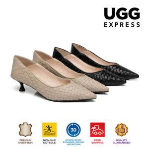 Women Leather Kitten Heels Subtle Pattern Work Dress Shoes Anaya