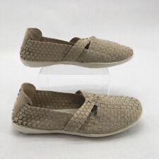 Bernie Mev Womens Margo Mary Jane Shoes Beige Basket Weave Slip Ons 8 EUR 40