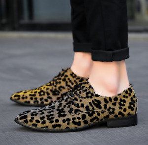 Mens Leopard Lace Up Oxfords Pointed Toe Dress Shoes Party Fashion Casual Shoes