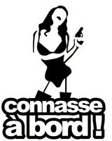 "Stickers Tuning Carrosserie Tout Support "" Connasse A Bord "" Colorie Noir"