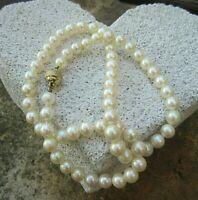 vintage perlen kette mit 585er gold schließe 44 cm edel klassisch sinlich schön