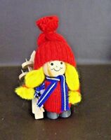 Vintage Wooden Girl Doll With Skis, Knit Hat & Sweater (Cat.#12T041)