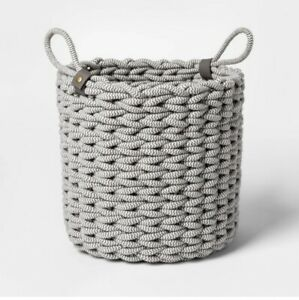 Large Coil  Rope Fishtail Weave Baskets with Faux Leather Accent Gray-Proj 62-2