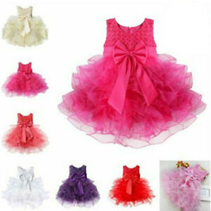 Flower Girls Princess Bow Dress Toddler Baby Wedding Party Pageant Tutu Dress