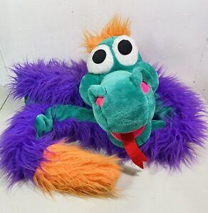 "Vtg Huge 90"" Snake Dragon Plush Hand Puppet Green Purple Cloud 9 Stuffed Animal"