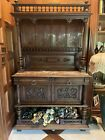 Antique+Cabinet+Carved+Walnut+Gothic+Case+Sideboard+Buffet+Solid+Wood+Vintage