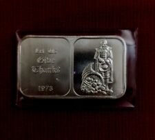 "1973 Crabtree Mint Paradise Calif ""Let Us Give Thanks"" 1 Troy Oz .999 Silver Bar"