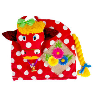 COW Patchwork Tea Cozy Teapot Doll, Handmade in Russia, 100% Cotton