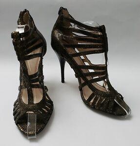 Plenty Tracy Reese Shoes Heels Metallic Bronze Caged Zip Heel Sz US 8.5 EU 38.5