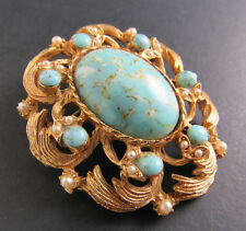 Vintage Gold Tone Brooch Pin Faux Pearls Robins Eggs Cabochons (Br16)
