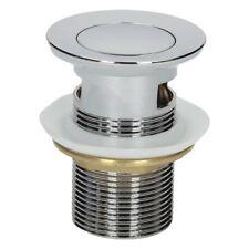 "Bathroom Basin Sink Press/Push Top Brass Slotted Waste Plug 1 1/4"" Chrome"