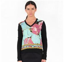 BNWT Fred Perry Laurel Wreath Womens Black Multi V-Neck Sweater Size 12 RRP £120