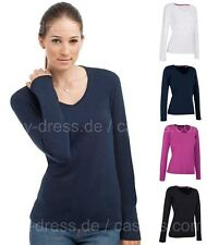 Damen V-Neck Stretch Langarm Shirt Gr.S,M,L,XL schwarz,navy,weiß,pink S9720