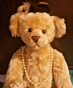 RUTHANN MAUER MOHAIR FULLY JOINTED BEAR WITH PEARLS AND HAT 16 INCHES NO RESERVE