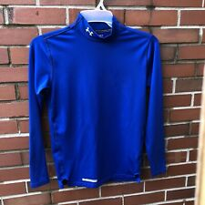 Under Armour Cold Gear Mock Men's Size Small Blue Compression Top Long Sleeve