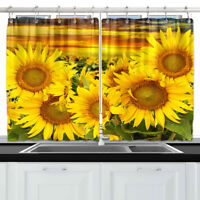Floral Sunflower Theme Window Drapes Kitchen Curtains 55*39 Inch W/ Metal Hooks