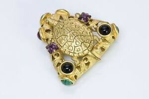 Natasha Stambouli Gold Plated Amethyst Malachite Carnelian Onyx Turtle Brooch