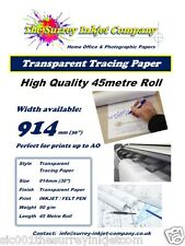 A0 A1 Inkjet Drafting Tracing Paper Roll 914mm x 45 MTR 90gsm INKJET PRINTABLE
