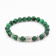 Stone Jewelry Sliver Buddha Yoga Bangle Malachite Bracelet Natural Stone Beads