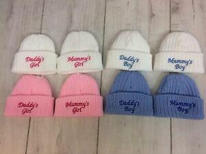 Newborn Hat With Embroidered Slogan, Boy, Girl, Unisex Pink, Blue, White, Grey