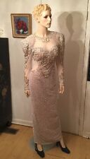 Gorgeous Peak Evenings Sheer Beaded Sequined Formal Dress Evening Gown Size 4