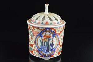 #6186: Japan Arita-ware Colored porcelain Gold paint Flower INCENSE BURNER, auto
