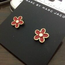 Pretty Marc by Marc Jacobs Gold Red Enamel Flower Stud Pierced Earrings