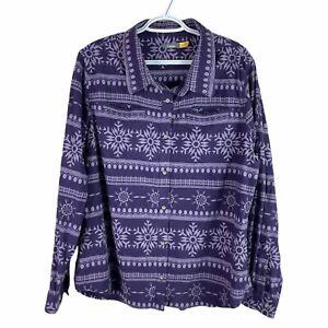 Cabelas Chamois Flannel Shirt Womens XL Purple Button Up Heavy Cotton LongSleeve