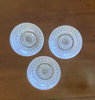 Set of 3 HEAVY Round Candy BOWLS Clear Whirl Star Glass Scalloped Edge 5 1/2""