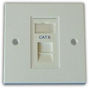 10x Cat 6 1 Way Data Network Outlet, Faceplate, Module. LAN Ethernet Flush Mount