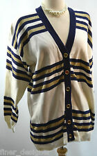 KNIGHTS VTG 80s Gold Metallic Cardigan Button Sweater Nautical knit Oversize M