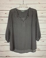 Pleione Anthropologie Women's L Large Gray Pink Long Sleeve Top Blouse Shirt