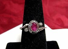 925 STERLING SILVER CENTRAL BUCKS WEST PINK STONE 2003 SCHOOL CLASS RING SZ 7.5