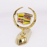 1x3D Gold Alloy Logo Front Hood Stand Ornament Emblem Sticker Badge for Cadillac