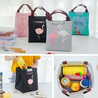 Flamingo Portable Insulated Canvas Cooler Picnic Lunch Bag Thermal Food Tote