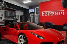 Ferrari Garage Sign 9 Feet Long  Brushed Silver