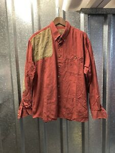 North River Outfitters Mens Red Brown Elbow Patch Long Sleeve Shirt Size XLarge