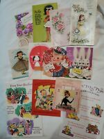 Lot Of 12 Vintage Greeting Cards 1960s Valentine  Get Well Anniversary Easter