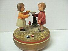 vintage Wooden music box Thorens switzerland boy and girl Happy B-day