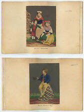 DBL SIDED - 2 COLORED PORTRAITS - ROMAN PEASANTS IN CULTURAL/TRADITIONAL DRESS