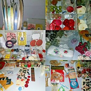 Junk drawer craft Lot Buttons Boutique Spools Ribbons Vtg retro Sewing Mini