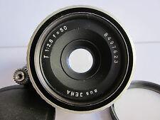 Aus Jena Zeiss T Tessar Zebra 50mm f2.8 Lens Exakta Mt Exc Hoya UV Filter Cap