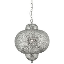 Searchlight Moroccan 1 Light Shiny Nickel Pendant Ceiling Chandelier Fitting