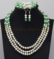 3 Rows 7-8mm Natural White Pearl & Green Emerald Necklace Bracelet Earrings Set