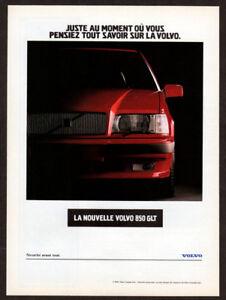 1993 VOLVO 850 GLT Vintage Original Print AD - Red car photo French Canada