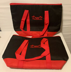 2 Trader Joe's Grocery Cooler Black & Red Bags