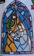 "Christmas Wall Hanging Kit 12.5""x21"" ""Stained Glass Nativity"" Bucilla No. 89271E"