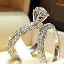 Women 925 Silver Rhinestone Fashion Jewelry Wedding Engagement Lover Ring Set