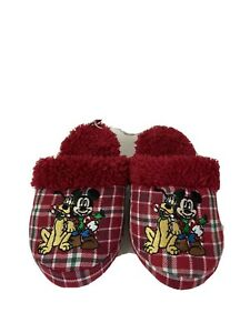Disney Store Christmas Slippers Size 9/10 Red Plaid Mickey Mouse Pluto Fleece