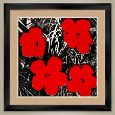 """32W""""x32H"""": FLOWERS RED 1964 by ANDY WARHOL - POP ART DOUBLE MATTE, GLASS & FRAME"""